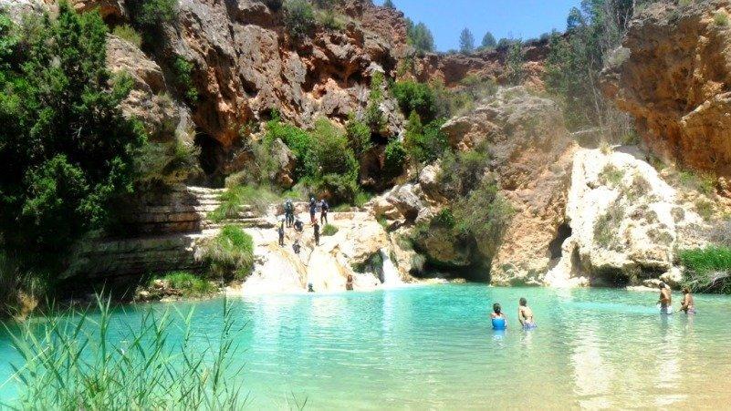 Las chorreras del r o cabriel entre las piscinas naturales for Piscinas naturales rio malo