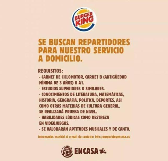 Piden más currículum para ser repartidor de Burger King que para se ...