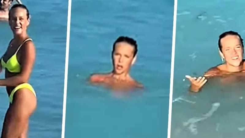 Vídeo Desnuda En La Playa El Novio Le Regala Un Bikini Que Se Deshace En El